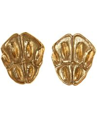 Saint Laurent - Embossed Clip-on Earrings - Lyst