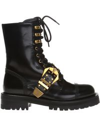 Versace - Leather 'biker' Boots - Lyst