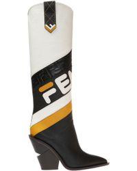 04d90c330d1 Lyst - Fendi 100mm Ff Print Cowboy Tall Boots in Brown