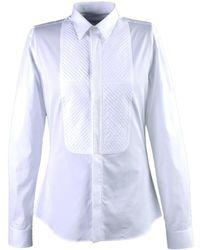 3b987adf5f4f6f Saint Laurent Rounded Bib Tuxedo Cotton Shirt in White for Men - Lyst