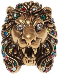 7c1beb83a Gucci Feline Head Ring In Metal in Metallic for Men - Lyst