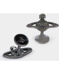 Vivienne Westwood - Mini Bas Relief Cufflinks Black Diamond - Lyst