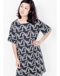 Dusen Dusen - Short Yes Dress / Black Wave - Lyst