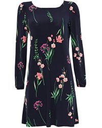 Wallis - Petite Navy Floral Print Fit And Flare Dress - Lyst