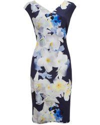 Wallis - Navy Floral Print Scuba Shift Dress - Lyst