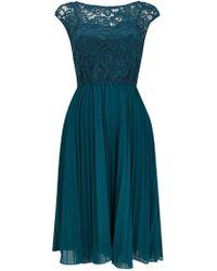 Wallis - **jolie Moi Teal Lace Midi Dress - Lyst