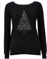 Wallis - Black Sequin Christmas Tree Jumper - Lyst
