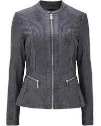 Wallis - Charcoal Faux Leather Stitch Jackets - Lyst