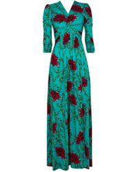 Wallis - **jolie Moi Teal Floral Maxi Dress - Lyst