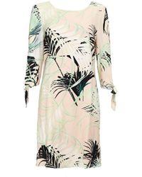 Wallis - Monochrome Palm Print Tie Sleeve Shift Dress - Lyst