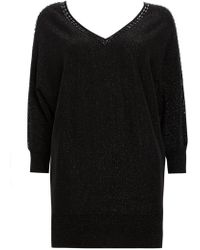Wallis - Black Embellished Sparkle Batwing Jumper - Lyst