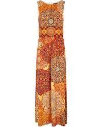 Wallis - Orange Tile Print Maxi Dress - Lyst