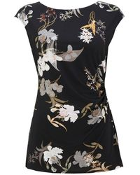 Wallis - Black Ruched Side Printed T-shirt - Lyst
