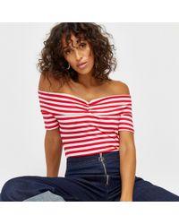 Warehouse - Stripe Rib Bardot Top - Lyst