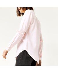 Warehouse - Pink Stripe Smock Sleeve Shirt - Lyst