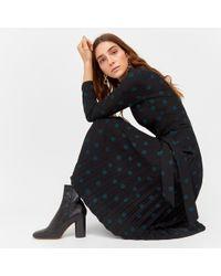 Warehouse - Mixed Spot Pleated Dress - Lyst