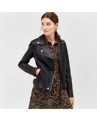 Warehouse - Faux Leather Biker Jacket - Lyst