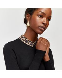 Warehouse - Leopard Print Collar Jumper - Lyst