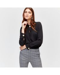 Warehouse - Button Neck Top - Lyst