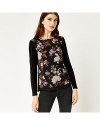 Warehouse - Molly Floral Woven Front Top - Lyst