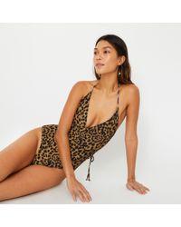 Warehouse - Leopard Print Wrap Swimsuit - Lyst