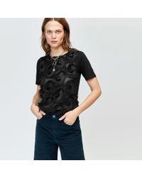 Warehouse - Fringe Woven Mix T-shirt - Lyst