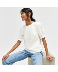 Warehouse - Embroidered Puff Sleeve Top - Lyst