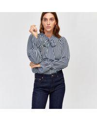 Warehouse - Stripe Tie Neck Blouse - Lyst