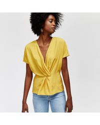 Warehouse - Twist Front Dobby Top - Lyst