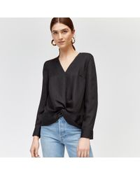 Warehouse - Crinkle Long Sleeve Knot Top - Lyst