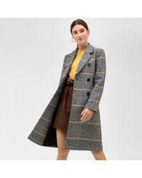 Warehouse - Check Print Midi Coat - Lyst