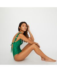 Warehouse - Swimsuit With Frills In Polka Dot - Lyst