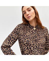 Warehouse - Leopard Print Button Neck Top - Lyst
