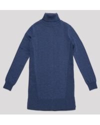 AYIHOLIC CASHMERE - Merino Wool Turtleneck Knit Top Blue - Lyst