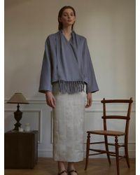 W Concept - Scarf Cashmere Short Coat - Lyst