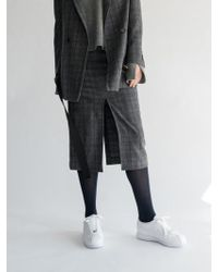 AEER   Glen Check Wool Cashmere Skirt Gray   Lyst