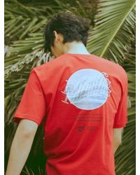 MIGNONNEUF Sunset Logo Lettering Tee Red