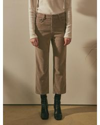YAN13 - Corduroy Straight Trousers Light Brown - Lyst