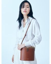 W Concept - Ellipse Bamboo Handle Bag Camel - Lyst