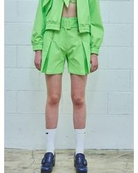 W Concept - Cursive Mimicawe Tuck Belt Shorts - Lime Green - Lyst