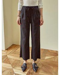YAN13 - Daily Banding Wide Pants Black - Lyst