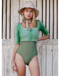 YVONNEB - Half Sleeve Khaki Swimwear - Lyst
