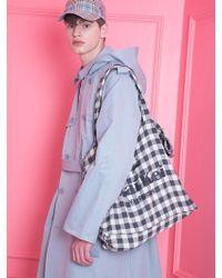 WAIKEI - [unisex] Check Shoulder Bag Charcoal - Lyst
