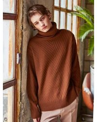 YAN13 - Turtleneck Pullover Knit Sweater_brown - Lyst