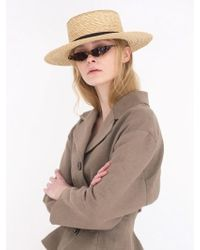 Awesome Needs - Wheat Straw Boater Hat Black - Lyst