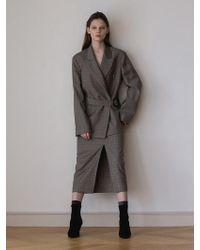 AEER - Glen Check Wool Cashmere Skirt Beige - Lyst