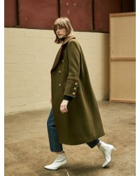 COLLABOTORY - Red Piping Long Pea Coat Khaki - Lyst
