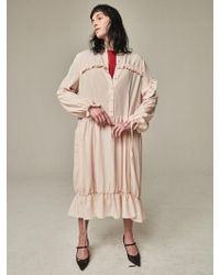 Bouton - Long Frilled Dress Light Pink - Lyst