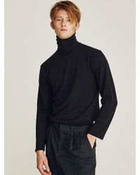 LIUNICK - Cotton Slav Turtleneck Knit Black - Lyst