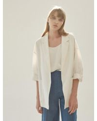 NILBY P - Linen Roomy Jacket O-wh - Lyst